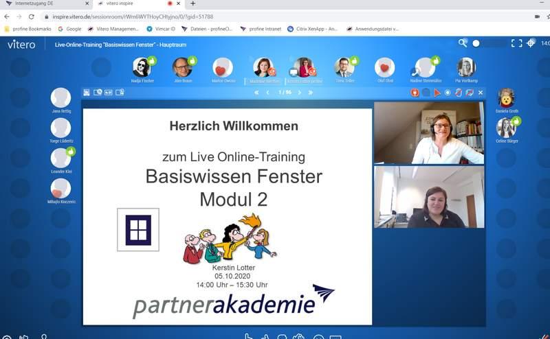 Bildschirmaufnahme einer Videokonferenz mit Partnerakademie.