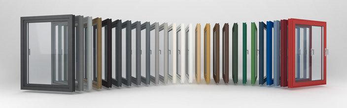 Bunte Vielfalt an Fensterrahmen der proCoverTec Serie.